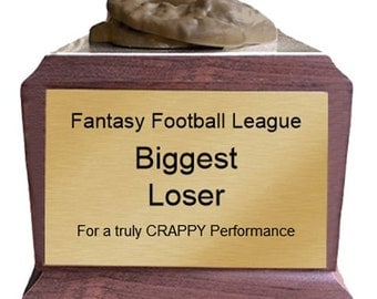 Pile of Crap Last Place Biggest Loser Trophy with 4 Lines of Custom Text
