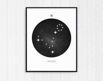Pisces Print, Pisces Zodiac, Pisces Art, Pisces Printable Birthday Gift, Pisces Constellation, Horoscope Decor, Digital Download, Zodiac Art