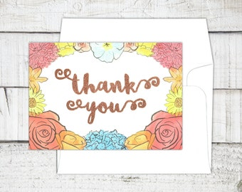Thank You Cards + Envelopes (Oregon Flowers) [5-pack]