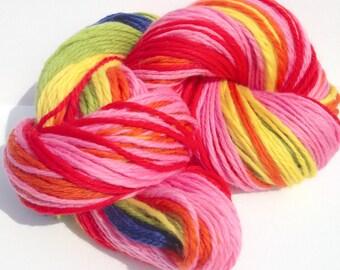 Merino Handspun Rainbow Yarn wool natural stripes, navajo ply Aran Red Pink Orange Yellow Green Blue 235yards knitting crochet weaving