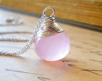 Rose Quartz Necklace, Pink Gemstone Jewelry, Sterling Silver Wire Wrap, Large Teardrop Briolette Pendant