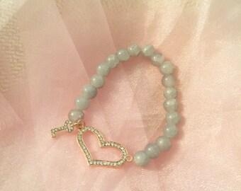 key to the heart charm beaded bracelet