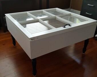 6 Pane Vintage Window Shadow Box Coffee Table