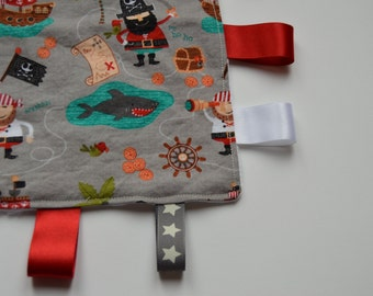 Pirate Tag Comforter, Pirate Taggie, Pirate Soft Cuddle Toy, Comforter, Riley Blake Pirate fabric Minky Taggy