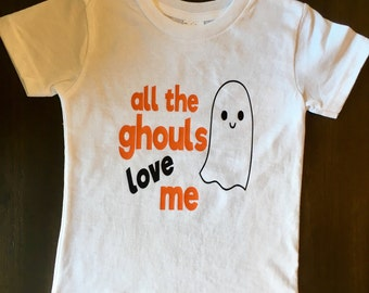 All the Ghouls Love Me Toddler Boy Halloween Shirt