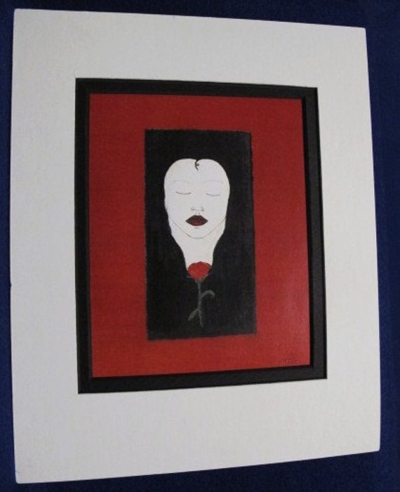 Woman With Rose: Limited pre-matted prints. Framing size 8x10