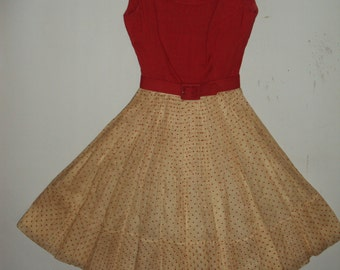 Adorable 1950s red & white polka dot party dress