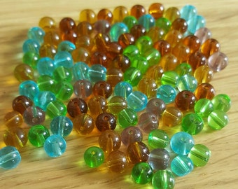 100 mixed 6mm glass beads