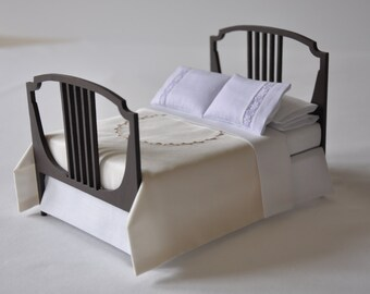Ivory silk dressed double bed