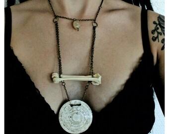Bone & shell pendant necklace | OOAK
