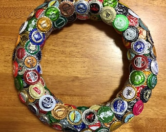 Bottle Cap Hanging Wreath