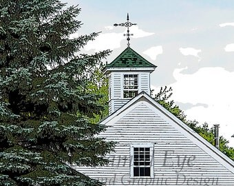 Blank Card, New England Barn Cupola with Tree, Rural Photography, Original Artwork, Notecard, Photo Print