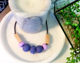 Handmade Polymer Clay Necklace - Lavender Delight
