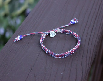 "Adjustable ""Americana"" Tie-Dye Hemp Bracelet"