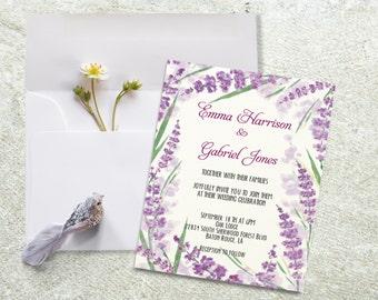 Wedding invitation, Printable wedding invite, Lavender wedding invitations.