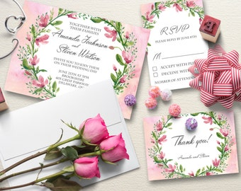 Wedding invitation, Wedding floral invitation set, Wedding invitations watercolor, Printable wedding kit