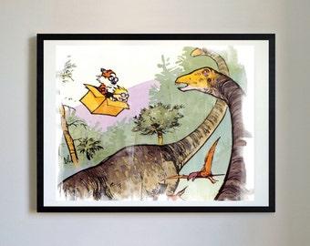 Calvin and Hobbes #29 - Dinosaurs, Nursery Art Print, Decor, Poster, Picture, Childrens Art, Kids Room