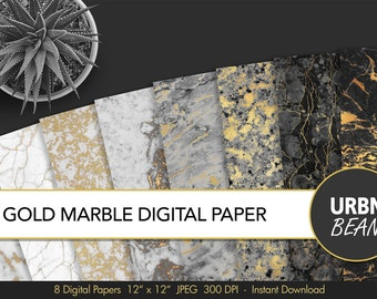 Marble Digital Paper. Black and White and Gold Marble Wallpaper Background, Digital Marble Pattern. Marble Texture. Printable.
