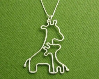 Giraffe family pendant complete with chain