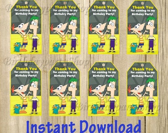Phineas and Ferb Favor Tag , Phineas and Ferb Thank You Tags, Instant Download, Digital File
