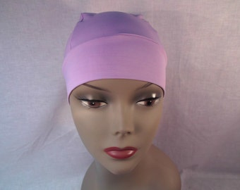 Purple snug fit cap easy to slip on and off works well for quick trips, head cover,skullie,hat,runners.