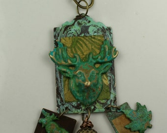 Brass Patina Head Moose Pendant/Drop Jewelry - #457