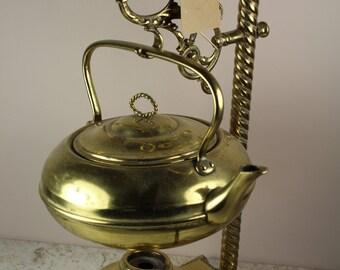 Vintage Brass Tea Urn on Brass Holder