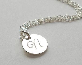 Sterling Silver Engraved  'n' necklace - OOAK