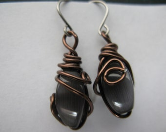 wire wrapped gray cats eye earrings
