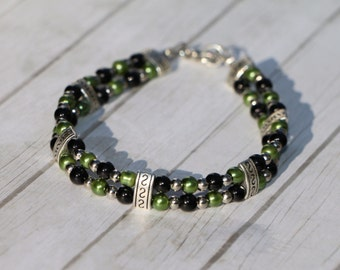 Men's / Women's 8 Inch Beaded Bracelet Two-Strand Green & Black Czech Glass with Tibetan Silver
