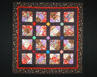 Plum Blossom Twin/ Double/ Throw or Wallhanging Quilt
