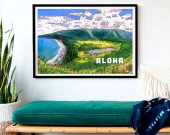 Aloha Waipio- Vintage Hawaii Style Original Artwork- Print, Framed Print, or Canvas Giclee- Discover waterfalls in the valleys of Hawaii