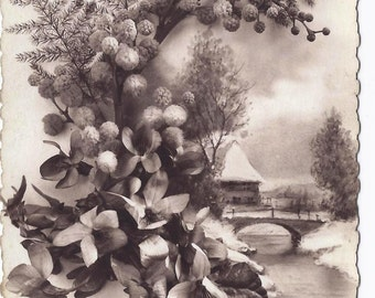 "Old Vintage Sepia Postcard, Collectible, Ephemera, Poetry, ""Bonne Annee"", Happy New Year"