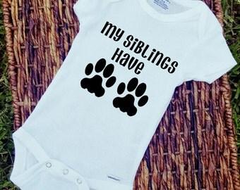 My siblings have paws onesies baby tee baby onesie