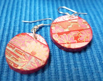 Chiyogami pink poem - Japanese,small, round, light, wooden earrings