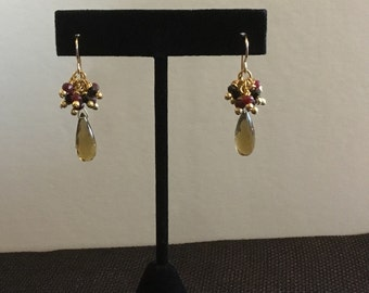 Elegant Ruby, Black Spinel and Beer Quartz Earrings