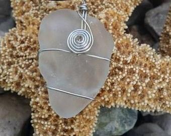 Frosty White Dominican Republic Sea Glass Pendant Necklace