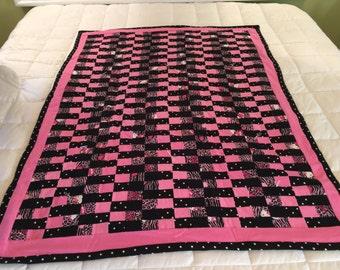 Crib/lap size Childrens Quilt...Hello kitty flannel quilt