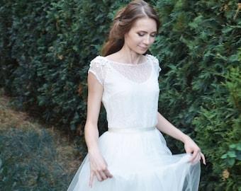 Wedding lace dress - Air flowers -  unique wedding gown. Bridal gown