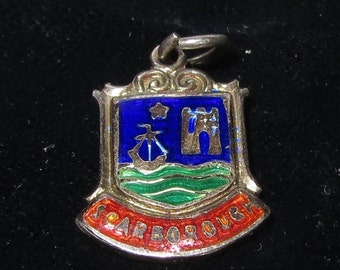 """Enamelled travel shield of 'SCARBOROUGH"""" sterling Silver Charm or Pendant"""