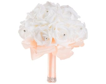Peach Wedding Bouquet - Ready To Ship - White Rose Bouquet - Bridal Bouquet - Peach Bouquet - Handmade Bouquet - Bridesmaid Bouquet - Flower
