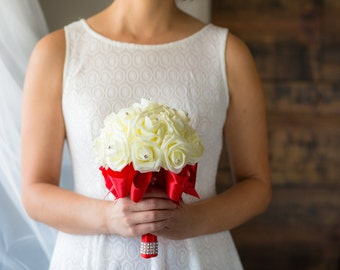 Red Wedding Bouquet - Ready To Ship - Ivory Rose Bouquet - Bridal Bouquet - Red Bouquet - Wedding Flowers - Bridesmaid Bouquet