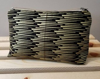 Black and gold cosmetic bag