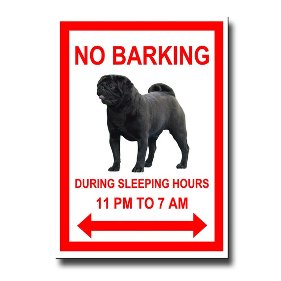 Pug No Barking Fridge Magnet Black