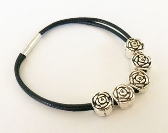 Black cord bracelet with large metal beads, strung cord jewelry, simple beaded bracelet, rose beads