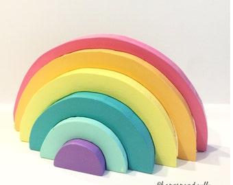 Bright unicorn sunshine wooden rainbow nesting stacker hand painted montessori waldorf puzzle toy toddler gift