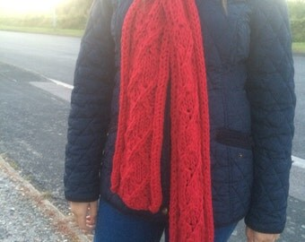 Lipstick Red Cabled Panel Scarf