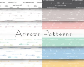 12 Pastel arrows patterns, simple background, for blog or website, product packing or simple wallpaper