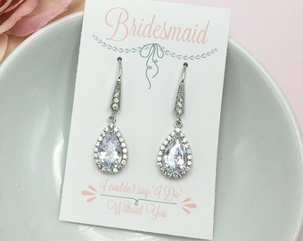 Bridesmaids Earrings, Pear Teardrop CZ Earrings, Bridesmaid Jewelry Gift, Bridesmaids Dangle Earrings, Personalized Jewelry 470190662