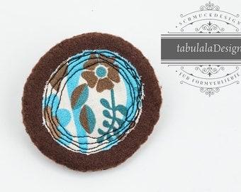 Felt brooch, felt, Brown, blue, cyan, mint, green, flower,